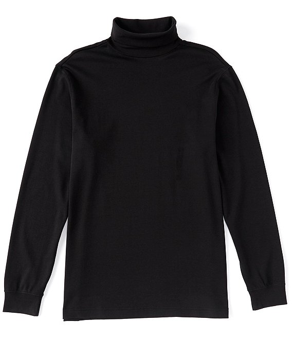 Color:Black - Image 1 - Long-Sleeve Solid Seamless Turtle Neck