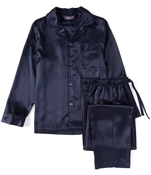 Color:Dark Navy - Image 1 - Solid Charmeuse Pajama Set
