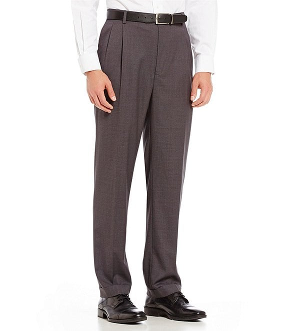 Color:Charcoal - Image 1 - TravelSmart Luxury Gabardine Ultimate Comfort Classic Fit Pleat Front Non-Iron Dress Pants