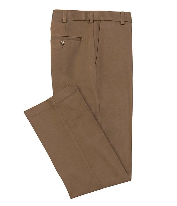 Color:Medium Brown - Image 1 - TravelSmart CoreComfort Big & Tall Non-Iron Flat-Front Classic Relaxed Fit Chino Pants