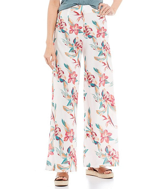 Color:White Tropical - Image 1 - Beside Me Floral Print Smocked Wide Leg Pants