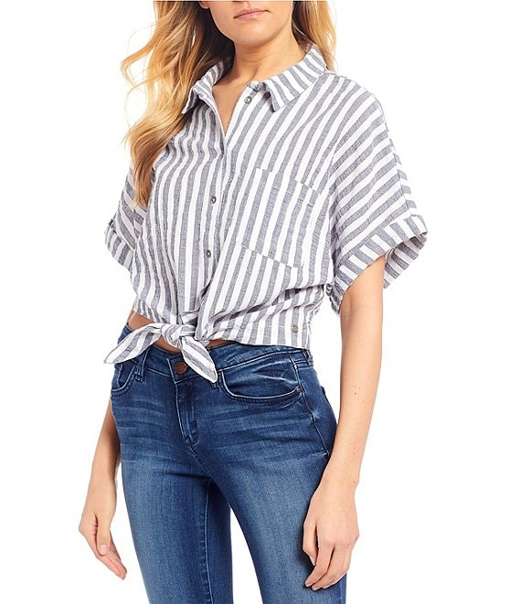 Color:Mood Indigo Lagos Stripes - Image 1 - Full Time Dream Stripe Button/Tie Front Top