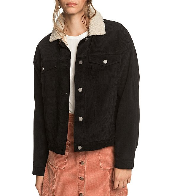 Color:Anthracite - Image 1 - Good Fortune Corduroy Sherpa Jacket