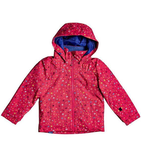 Color:Jazzy Primary School - Image 1 - Little Girls 2T-7 Mini Jetty Printed Hooded Snow Ski Jacket