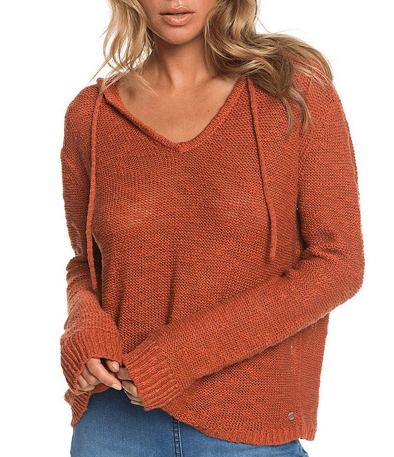 Color:Auburn - Image 1 - Long-Sleeve Shades Of Cool Hooded Poncho Sweater