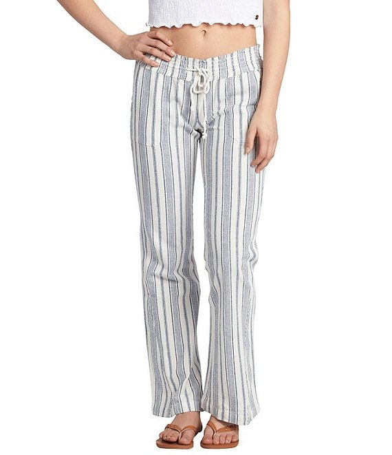 Color:White True Navy - Image 1 - Oceanside Striped Flare-Leg Pants