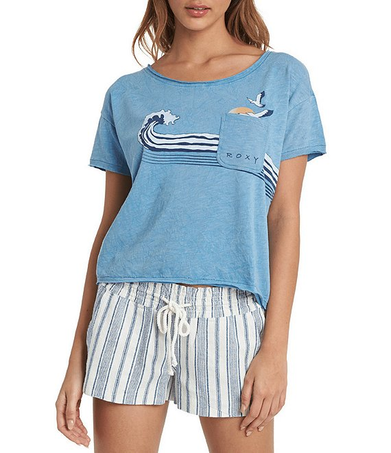 Color:Blue Heaven - Image 1 - Wave Stripe Short Sleeve Graphic Pocket Tee