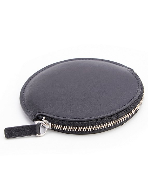 Color:Black - Image 1 - Leather Circular Earbud Travel Case