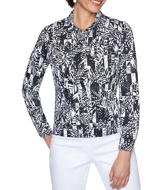 Color:Black/Soft White - Image 1 - Graphic Paradise Print Knit Twill Button Front Jacket