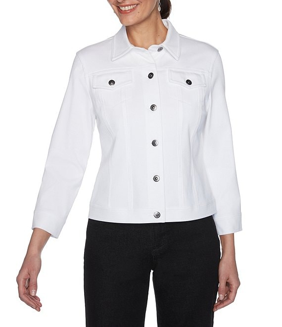 Color:White - Image 1 - Knitted Twill Button Front 3/4 Sleeve Jacket