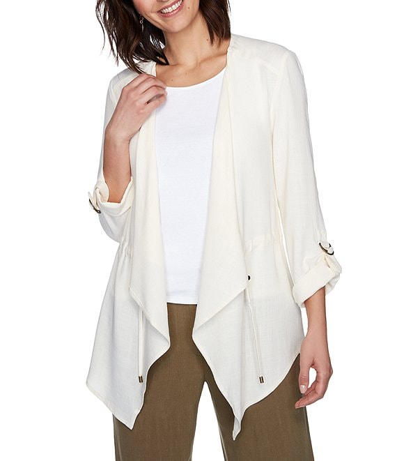 Ruby Rd. Petite Size D-Ring Roll-Sleeve Drawstring Waist Open Front Linen Blend Cardigan