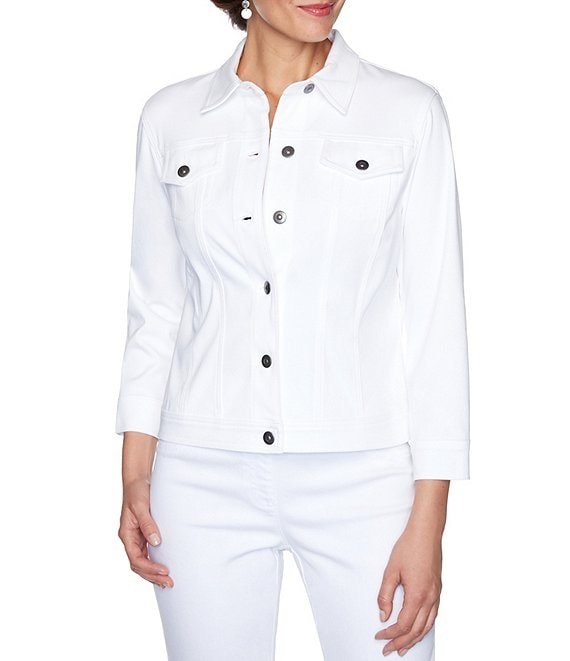 Color:White - Image 1 - Petite Size Knitted Twill Button Front 3/4 Sleeve Jacket