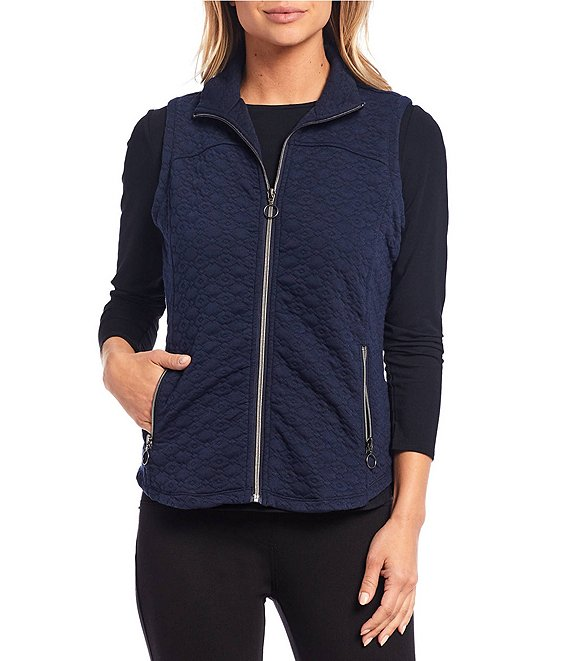 Color:Navy - Image 1 - Petite Size Quilted Zip-Front Vest