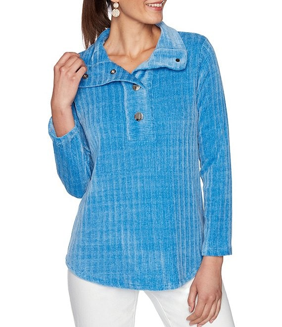 Color:Blue Moon - Image 1 - Petite Size Ribbed Chenille Point Collar Snap Front Long Sleeve Pullover