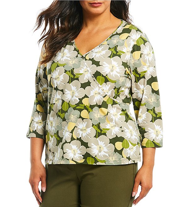 Color:Olive Multi - Image 1 - Plus Size Hibiscus Floral Print Embellished Mock Surplice Cotton Blend Top