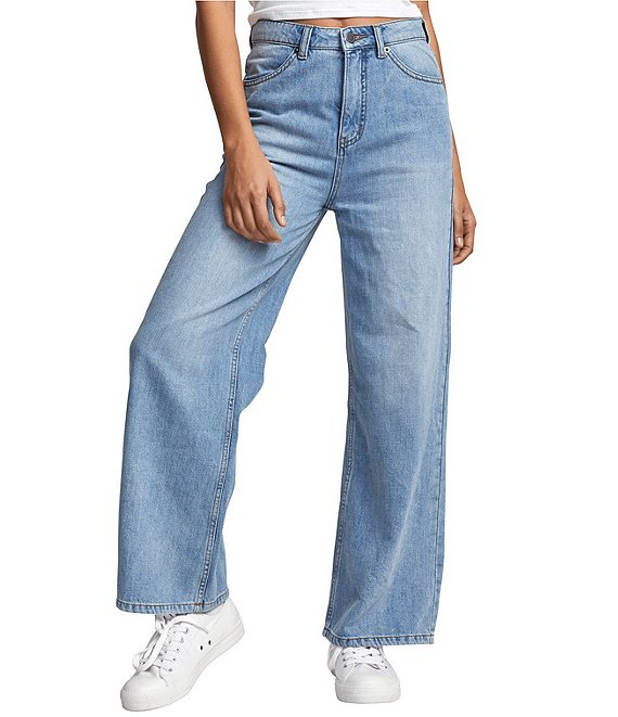 Color:Ocean - Image 1 - Coco Wide-Leg Lightweight High-Rise Denim Jeans
