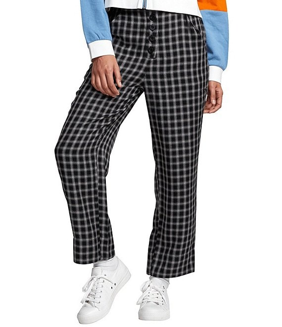Color:Black - Image 1 - Sequoia Yarn-Dyed Plaid Woven Cropped Pants