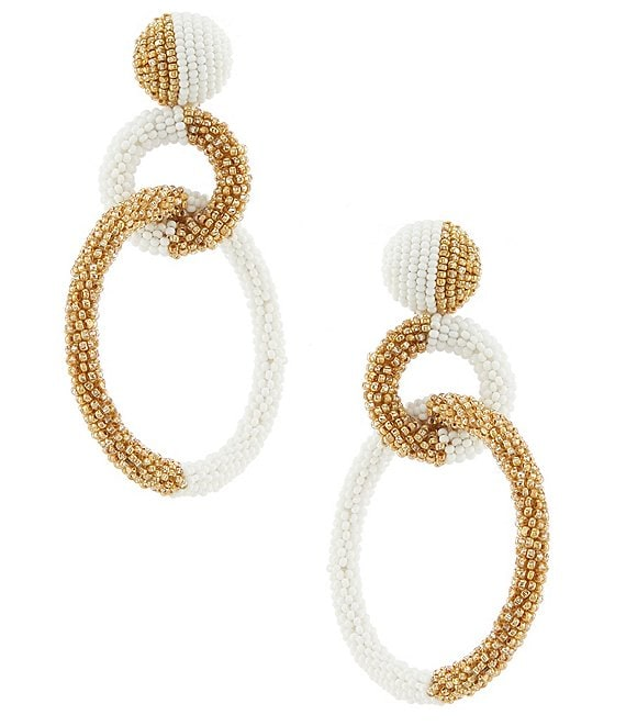 Color:Ivy Gold - Image 1 - Erin Beaded Statement Earrings