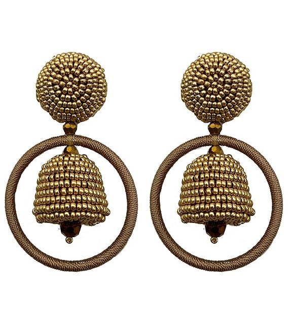 Color:Gold - Image 1 - Palmer Hoop Statement Earrings