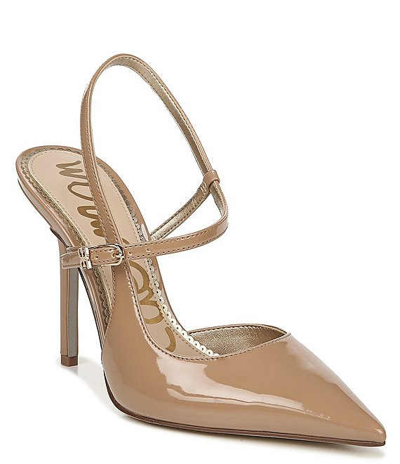 Color:Rosa Nude - Image 1 - Ayla Patent Ankle Strap Stiletto Pointed Toe Pumps