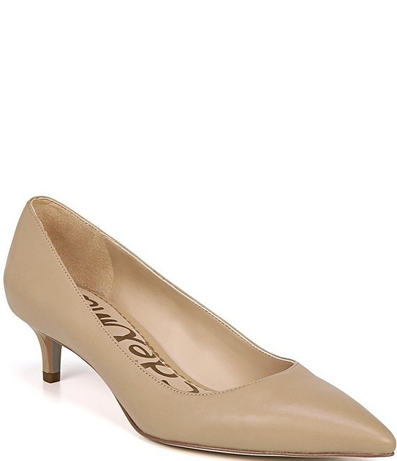 Color:Classic Nude - Image 1 - Dori Leather Kitten Heel Pumps