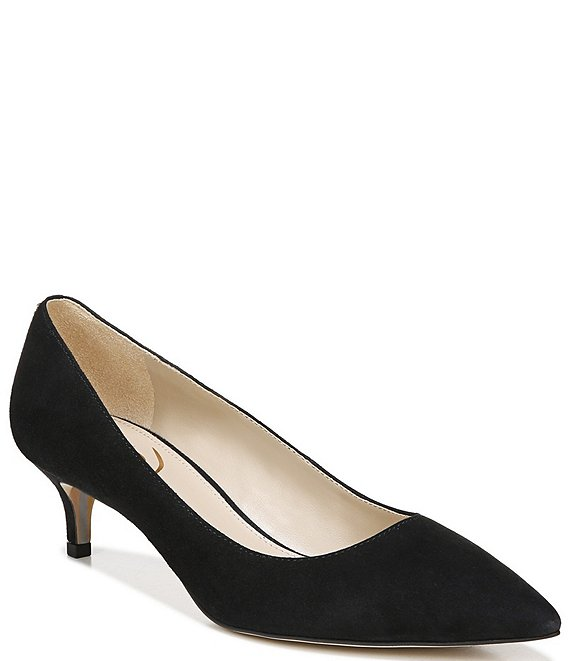 Color:Black - Image 1 - Dori Suede Kitten Heel Pointed Toe Pumps
