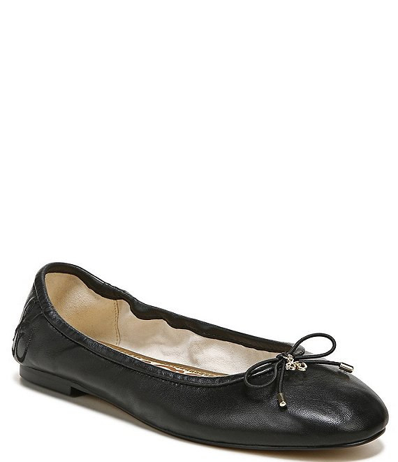 Color:Black - Image 1 - Felicia Leather Bow Detail Ballet Flats