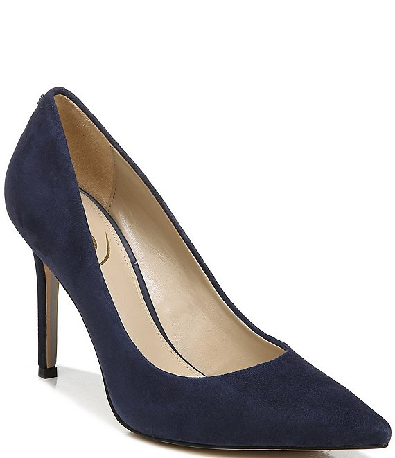 Color:Baltic Navy - Image 1 - Hazel Suede Pointed-Toe Pumps