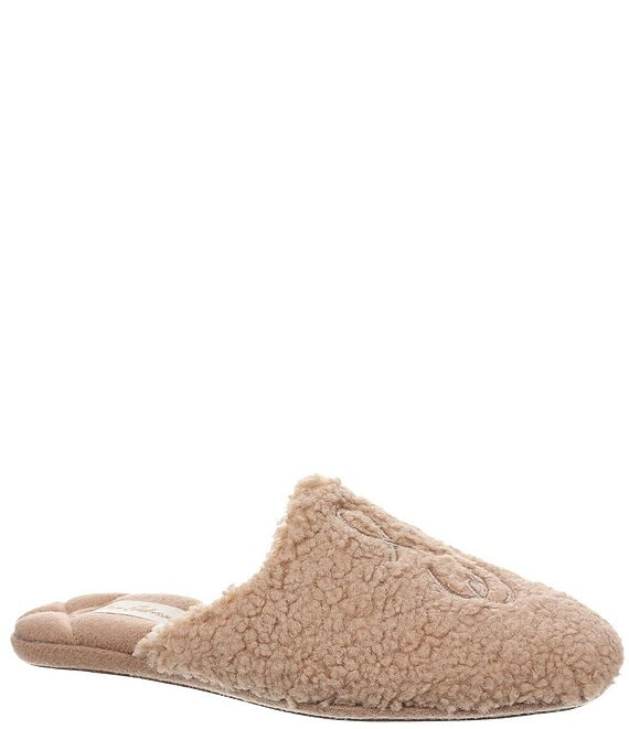 Color:Camel - Image 1 - Kerri Faux Shearling Slip-On Slippers