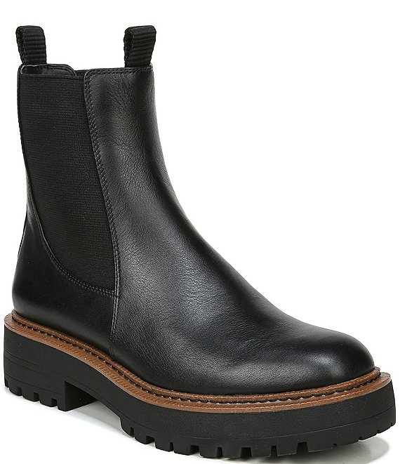 Color:Black Leather - Image 1 - Laguna Waterproof Leather Chelsea Lug Sole Booties