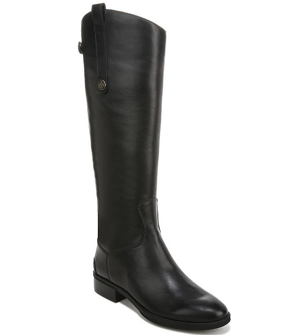 78cfb8070 Sam Edelman Penny Back Zip Wide Calf Block Heel Riding Boots