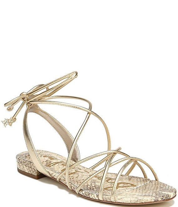 Color:Molten Gold - Image 1 - Tihana Strappy Metallic Ankle Wrap Sandals