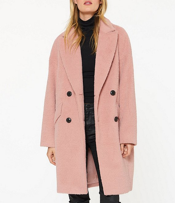 Color:Brushed Dusty Pink - Image 1 - Brushed Wool Blend Coat