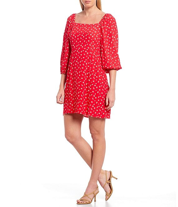 Color:Wildflower Red - Image 1 - Cilia Square Neck Floral Print 3/4 Balloon Sleeve Mini Dress