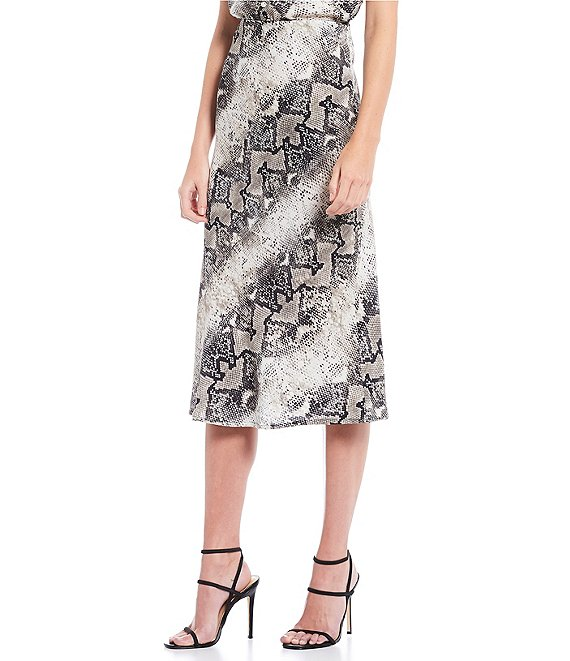 Sanctuary Everyday Snakeskin Print Midi Skirt