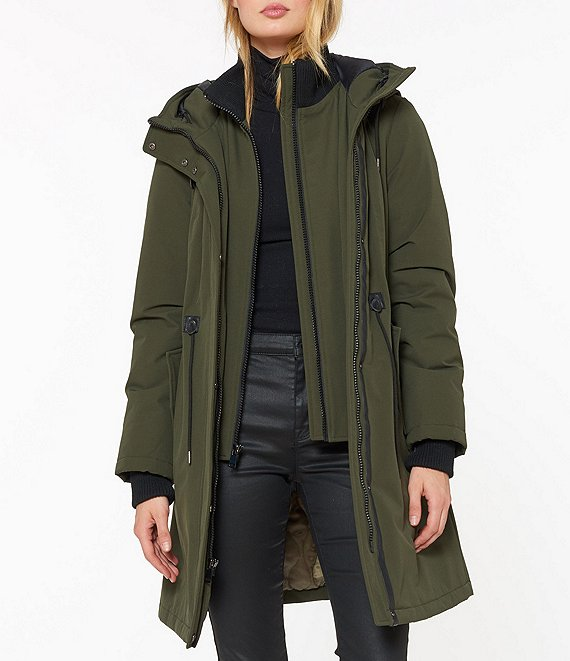 Color:Forest Green - Image 1 - Hooded Drawcord Waist Anorak Parka