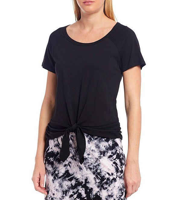 Color:Black - Image 1 - Lou Ruched Tie Front Tee