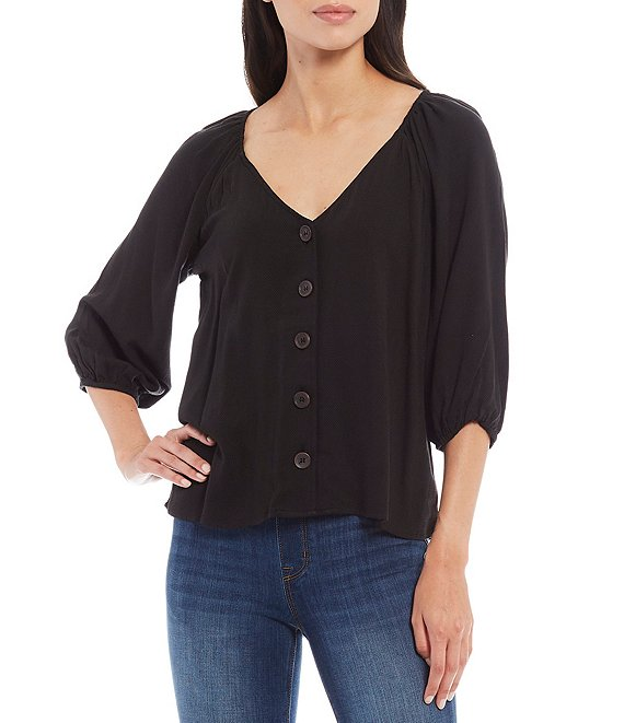 Color:Black - Image 1 - Modern V-Neck 3/4 Sleeve Elastic Cuff Button Front Top