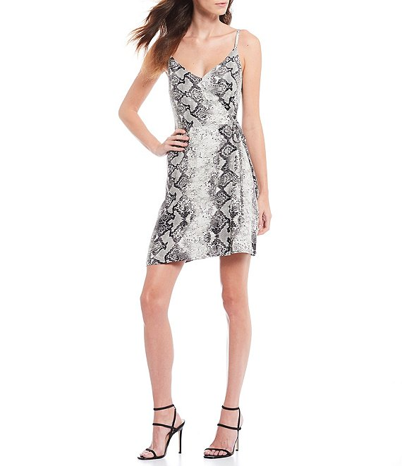 Sanctuary Wrap It Up Snakeskin Print Sleeveless Wrap Tank Dress