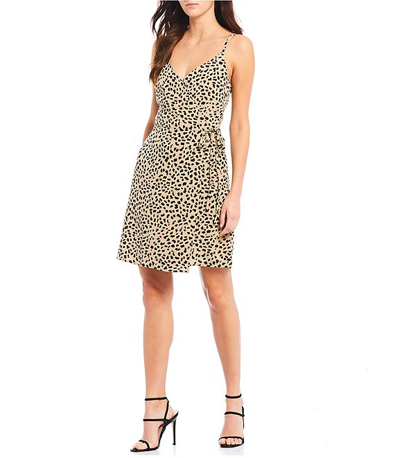 Color:Modern Spots - Image 1 - Wrap It Up Faux Wrap Spaghetti Strap Cheetah Print Dress