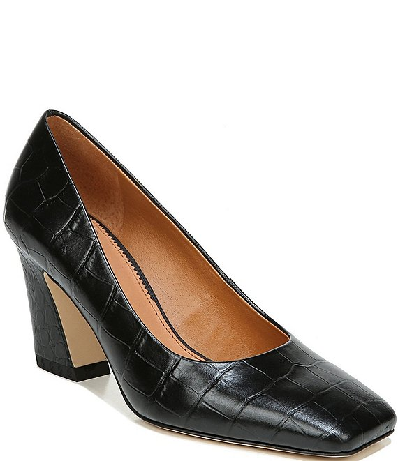 Color:Black - Image 1 - Sarto by Franco Sarto Graciana Croc Embossed Leather Square Toe Pumps