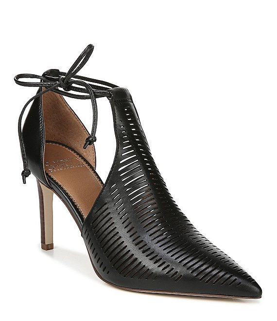 Color:Black - Image 1 - Sarto by Franco Sarto Krista Leather Cutout Pointed Toe Shooties