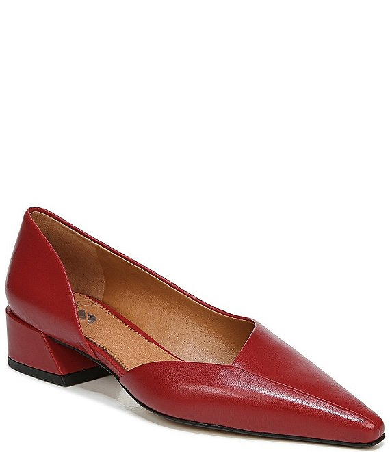 Color:Campari - Image 1 - Sarto by Franco Sarto Monana Leather d'Orsay Block Heel Pumps