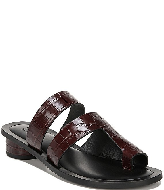 Color:Bordo - Image 1 - Sarto By Franco Sarto Trixie Croc Embossed Leather Block Heel Toe Ring Sandals