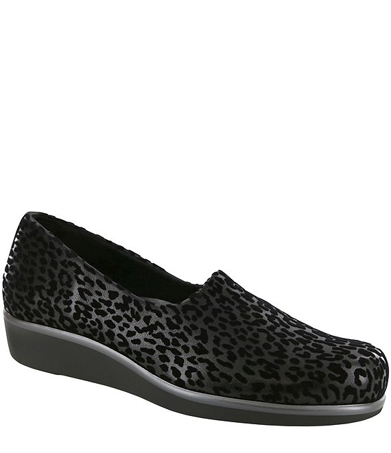 Color:Black Leopard - Image 1 - Bliss Leopard Print Flex Fabric Slip Ons