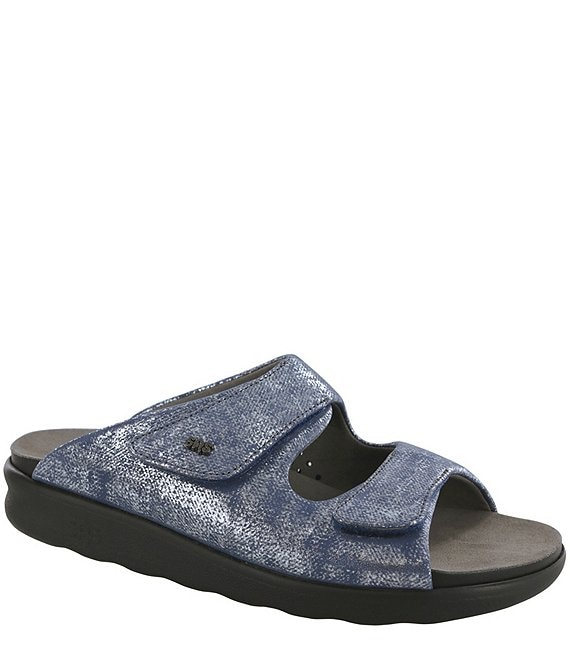 Color:Silver Blue - Image 1 - Cozy Metallic Leather Slide Sandals