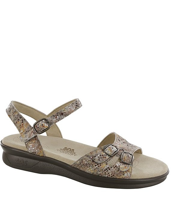 SAS Duo Snake Print Leather Sandals