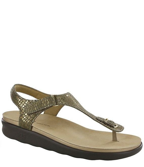 Color:Olive Gold - Image 1 - Marina Snake Print Leather Thong Sandals