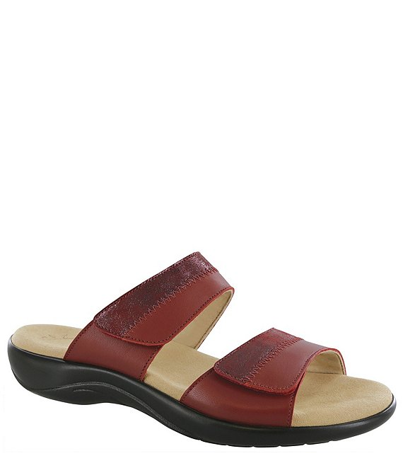 Color:Ruby/Cabernet - Image 1 - Nudu Printed Leather Slides