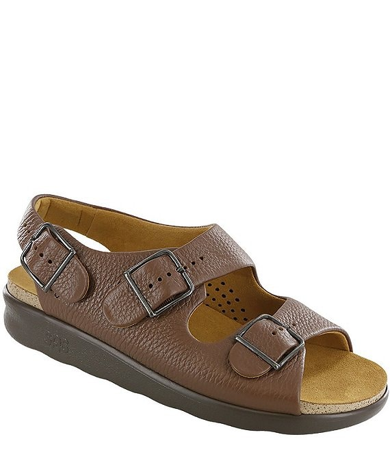Color:Amber - Image 1 - Relaxed Leather Sandals